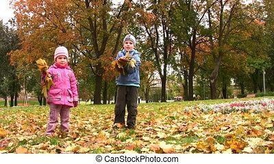 automne, parc, enfants