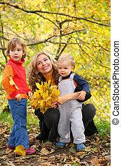 automne, parc, enfants, mère