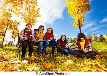 automne, parc, esquisser