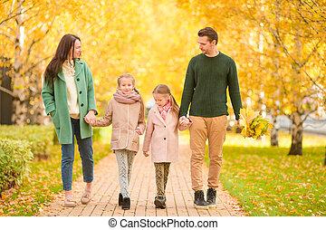 automne, parc, famille, automne