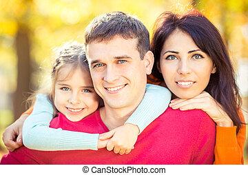 automne, parc, famille, heureux