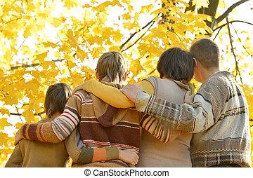automne, parc, famille
