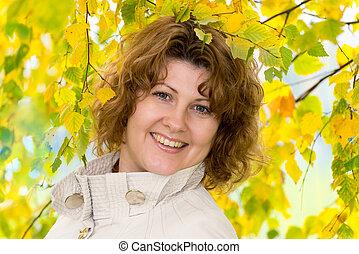 automne, parc, femme, deux âges