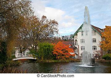 automne, parc, fontaine