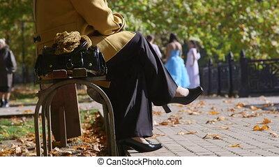 automne, parc, gens