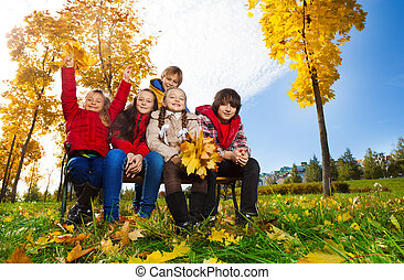 automne, parc, groupe, gosse