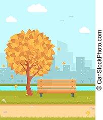 automne, parc, illustration