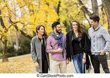 automne, parc, jeunes