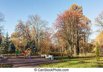 automne, parc, jour ensoleillé