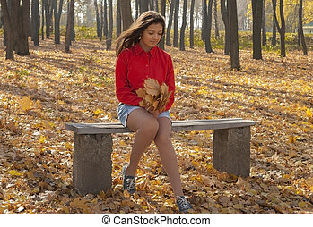 automne, park., banc, girl, séance