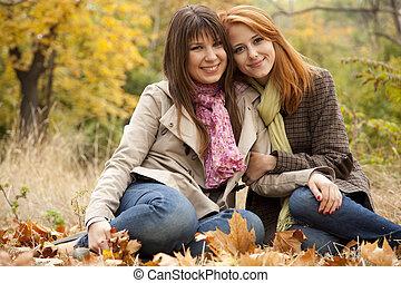 automne, park., filles, deux