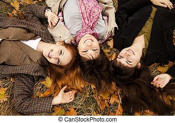 automne, park., filles, trois