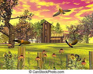 automne, -, paysage, render, 3d