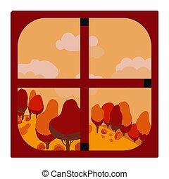 automne, paysage., vue fenêtre