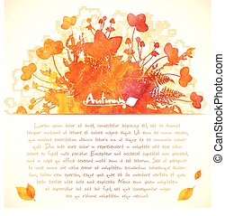 automne, peint, feuilles, aquarelle, fond, orange