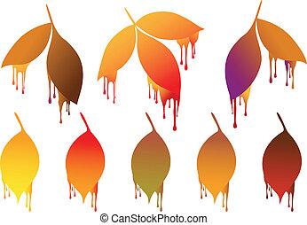 automne, peinture, feuilles, gouttes