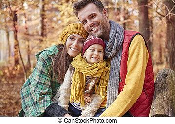 automne, pendant, portrait famille
