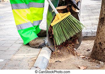 automne, pendant, rues, nettoyage, temps