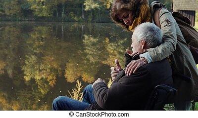 automne, personne agee, fauteuil roulant, couple, nature.