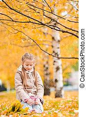 automne, petite fille, jour, automne