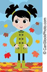 automne, petite fille, promenade