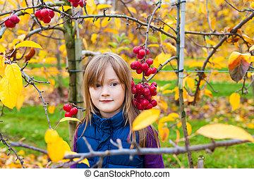 automne, peu, adorable, jardin, girl