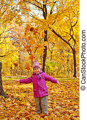 automne, peu, forêt, girl