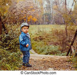 automne, peu, parc, cow-boy