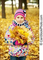 automne, peu, parc, feuilles, girl