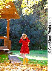 automne, peu, parc, girl, dehors