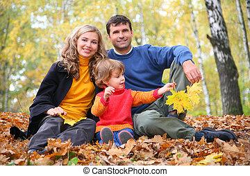 automne, peu, parc, girl, famille