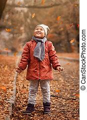 automne, peu, parc, girl, joli