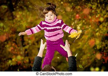 automne, peu, parc, girl