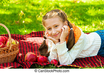 automne, peu, pommes, girl