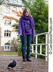 automne, pigeons, alimentation, girl, park.