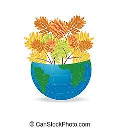 automne, planète, feuilles, la terre