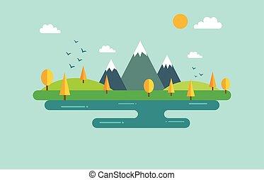 automne, plat, style, bannière, paysage