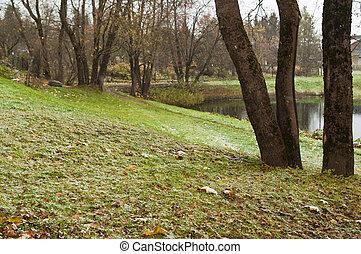 automne, pond., paysage neige, premier