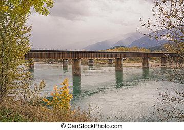 automne, pont, revelstoke, rail