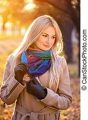 automne, portrait, blond, parc, girl