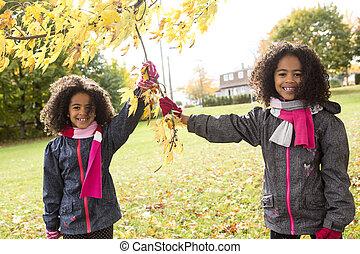 automne, portrait, enfant, saison
