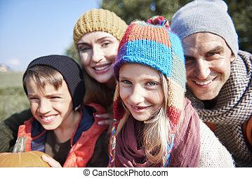 automne, portrait, famille