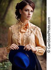 automne, portrait, femme, chapeau, jeune