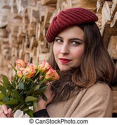 automne, portrait, femme, jeune, temps