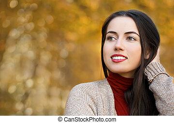 automne, portrait, femme