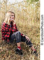 automne, portrait, femme, végétation
