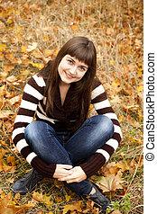 automne, portrait, girl, brunette, park.