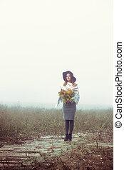 automne, portrait, girl