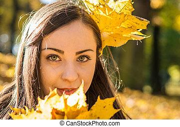 automne, portrait, girl, parc
