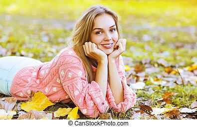 automne, portrait, girl, parc, charmer